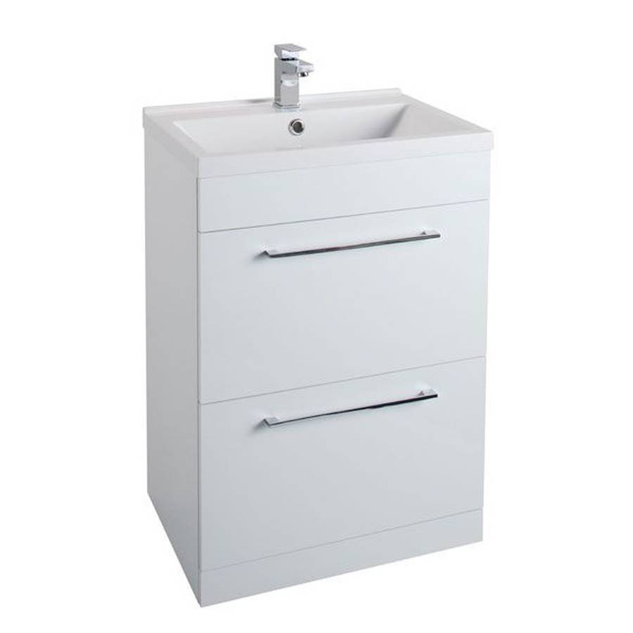 WS-Cassellie Idon 600mm Gloss White 2 Drawer Freestanding Basin Unit-1