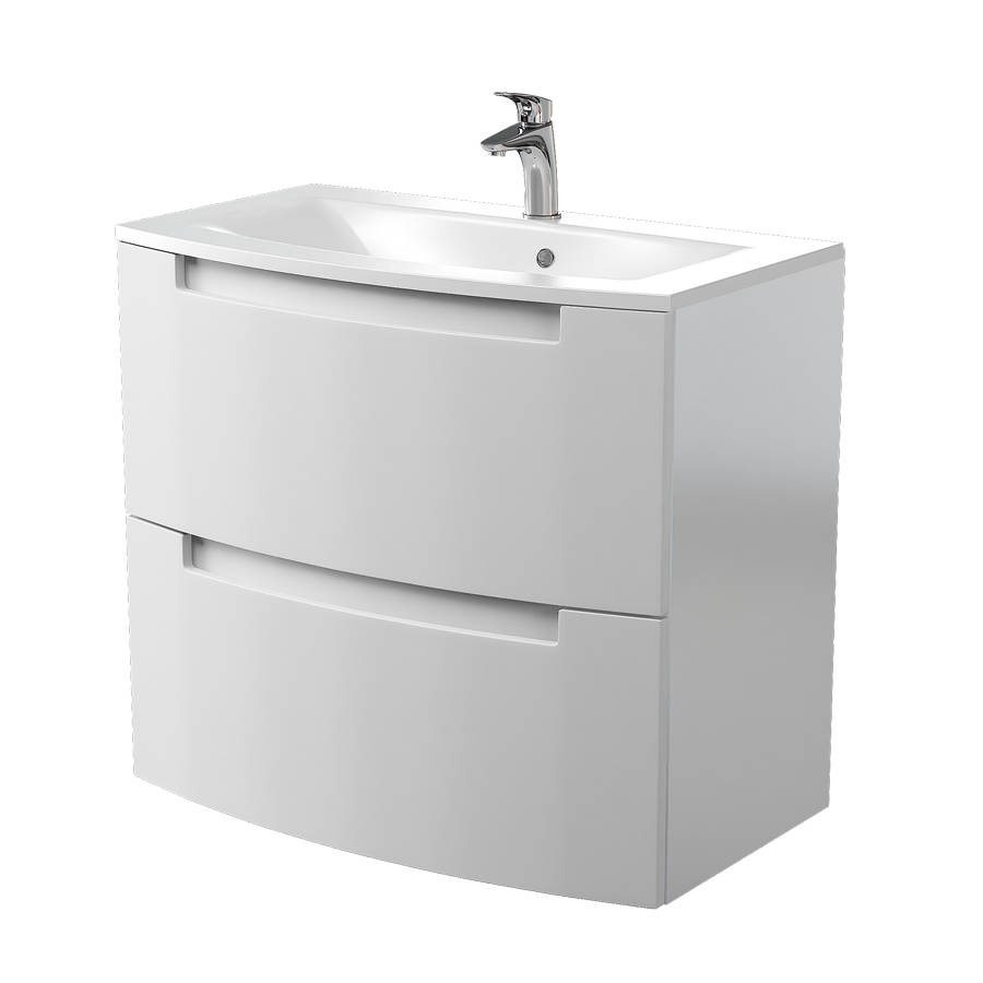 Cassellie Henley 600mm Gloss White Wall Mounted Vanity Unit-1