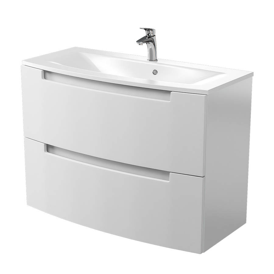 Cassellie Henley 1000mm Gloss White Wall Mounted Vanity Unit-1