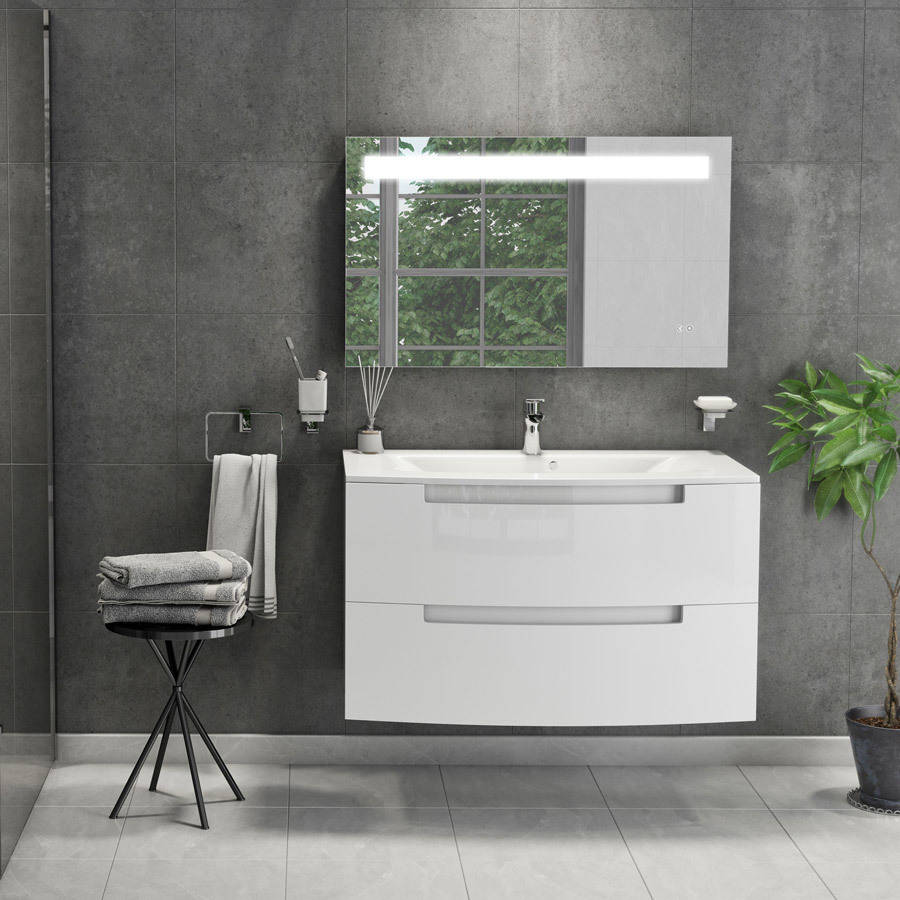 Cassellie Henley 1000mm Gloss White Wall Mounted Vanity Unit-2