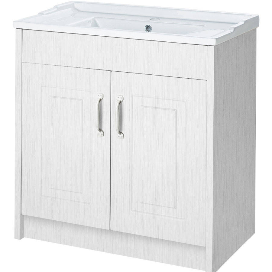 WS-Cassellie Traditional 600mm Porcelain White Ash 2 Door Floor Standing Basin Unit-1