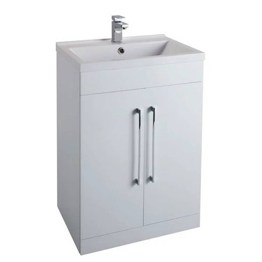 WS-Cassellie Idon 600mm Gloss White 2 Door Freestanding Basin Unit-1