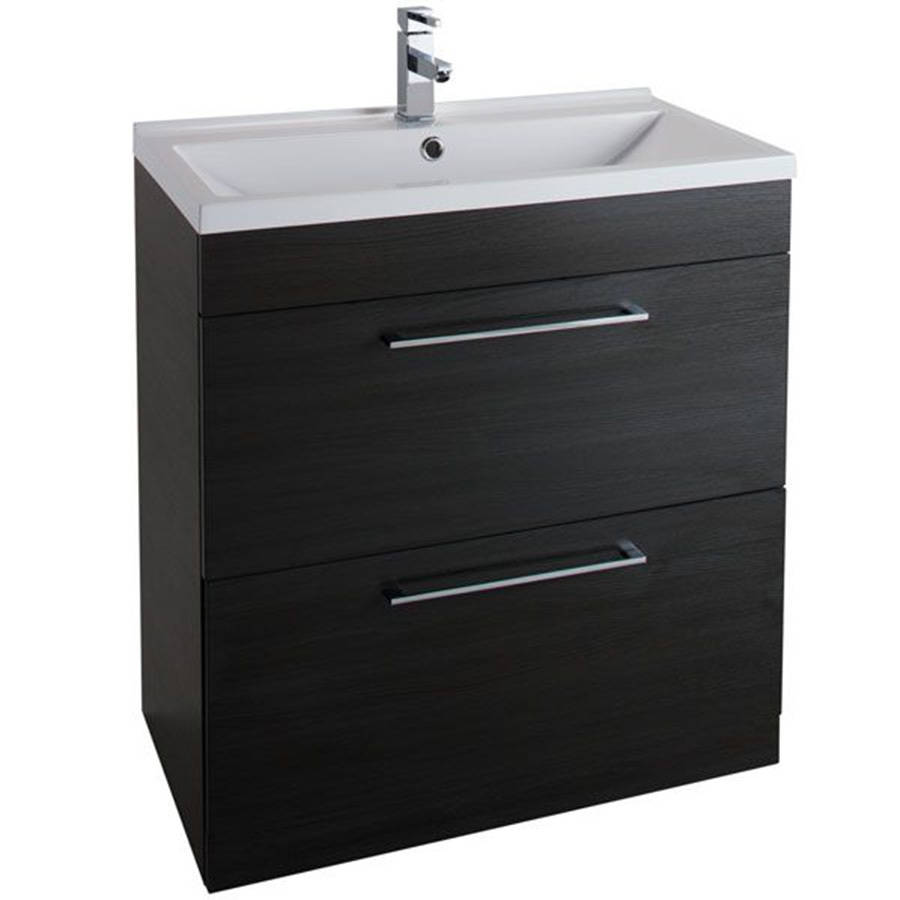 WS-Cassellie Idon 800mm Black 2 Drawer Freestanding Basin Unit-1