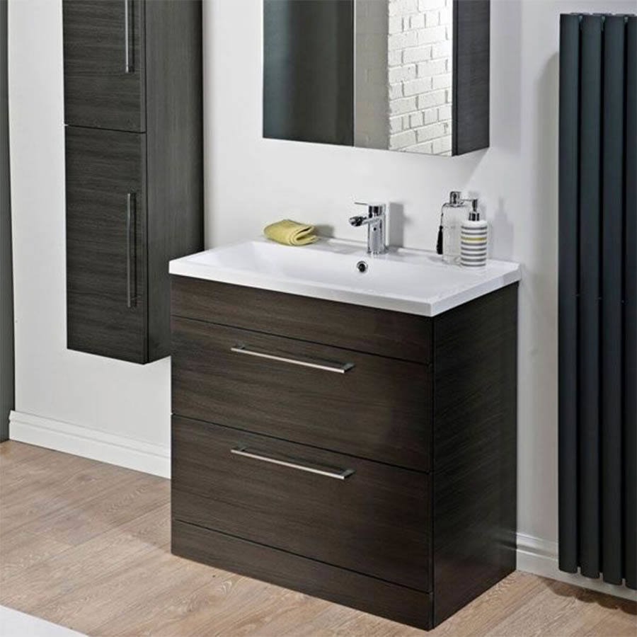 Cassellie Idon 800mm Black 2 Drawer Freestanding Basin Unit