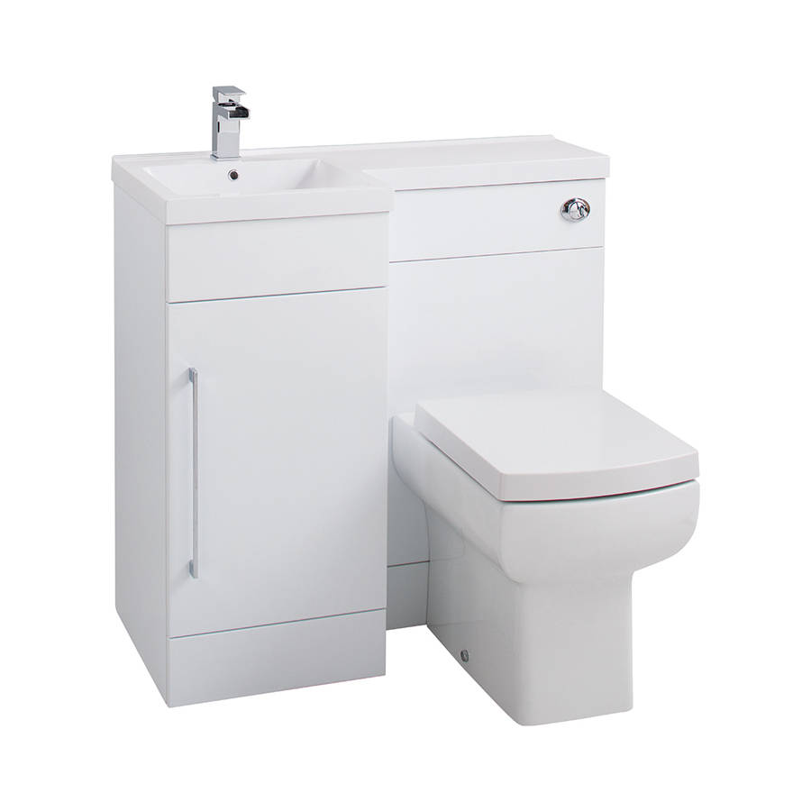 Cassellie Maze Compact L Shaped 900mm Gloss White Combination Unit with LH Mid Edge Polymarble Basin-1