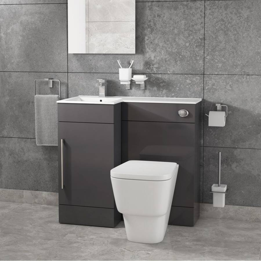 Cassellie Maze Compact L Shaped 900mm Anthracite Combination Unit with LH Mid Edge Polymarble Basin-1