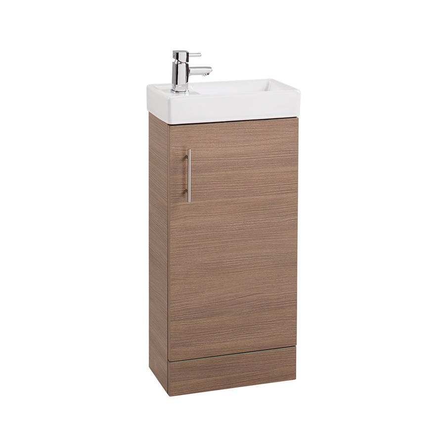 Cassellie Cube 400mm Medium Oak Single Door Vanity Unit & Basin-1
