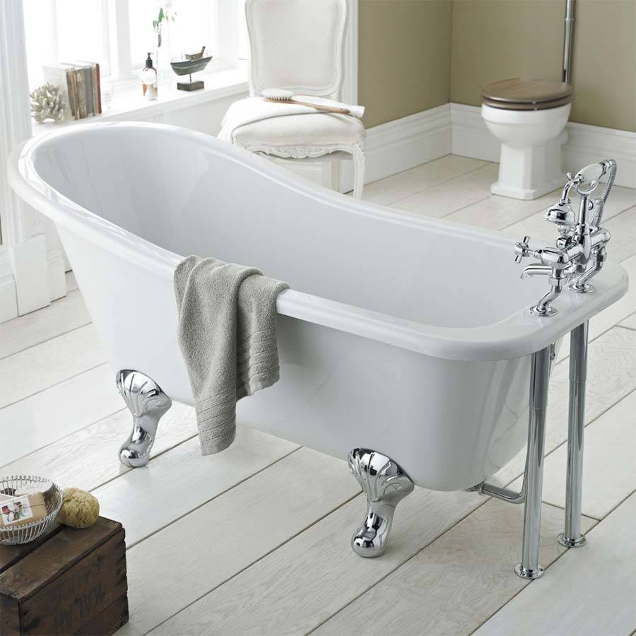 WS-Cassellie Oakwood 1500mm Slipper Freestanding Bath-2