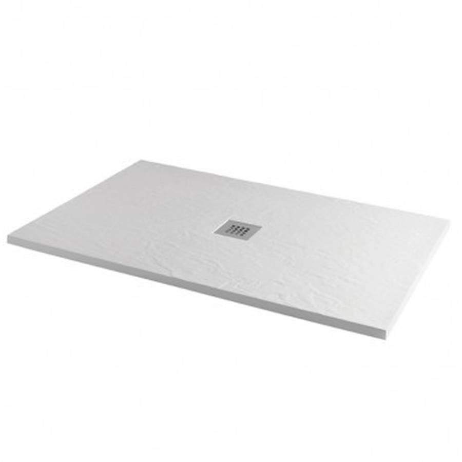 MX Minerals 1000 x 800mm Ice White Slate Effect Rectangular Shower Tray
