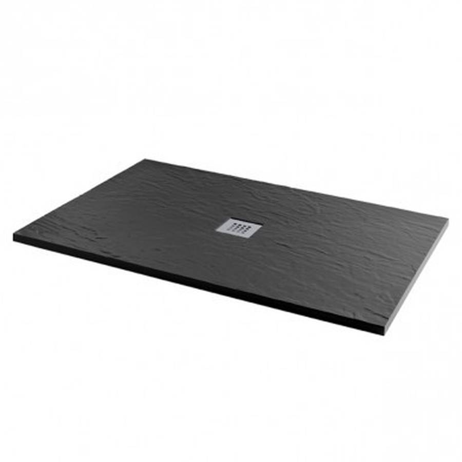 MX Minerals 1000 x 800mm Jet Black Slate Effect Rectangular Shower Tray
