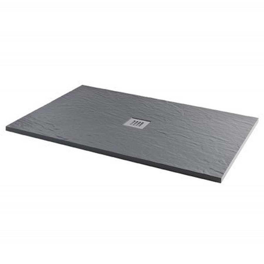 MX Minerals 1000 x 800mm Ash Grey Slate Effect Rectangular Shower Tray