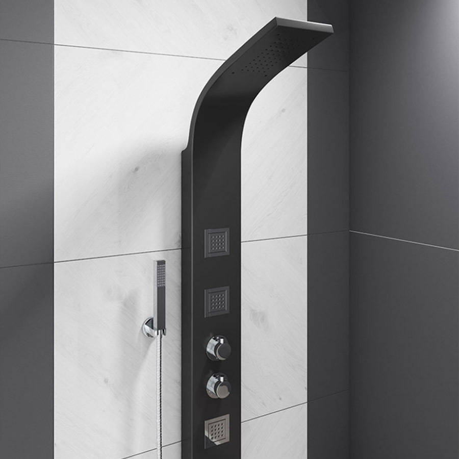 WS-Cassellie Black Thermostatic Shower Panel-2