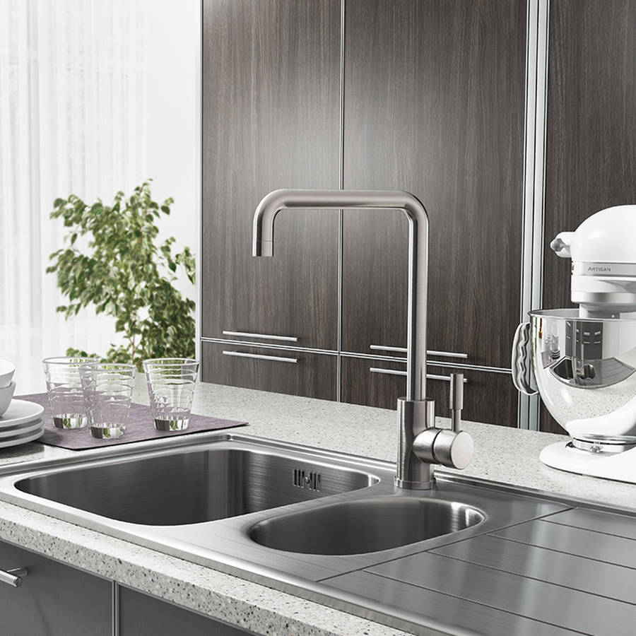 Cassellie Brushed Stainless Steel Single Lever Mono Kitchen Sink Mixer Tap-2
