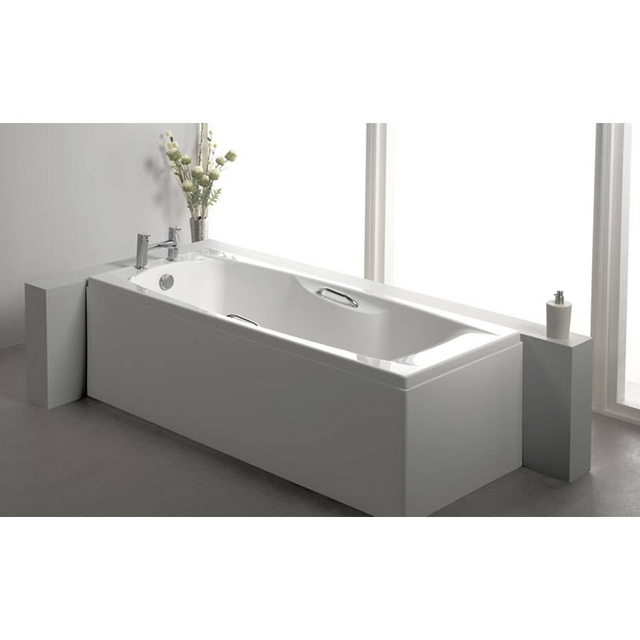WSB-Carron Imperial 1400 x 700mm Single Ended Carronite WSB-Carron Imperial 1500 x 700mm Single Ended Carronite Bath with Grips-2Bath with Grips-2