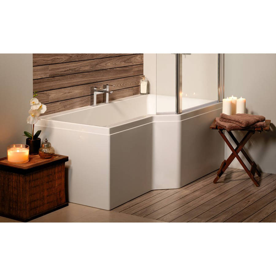 Carron Urban Edge 1675 x 700-850mm RH Carronite Shower Bath-2