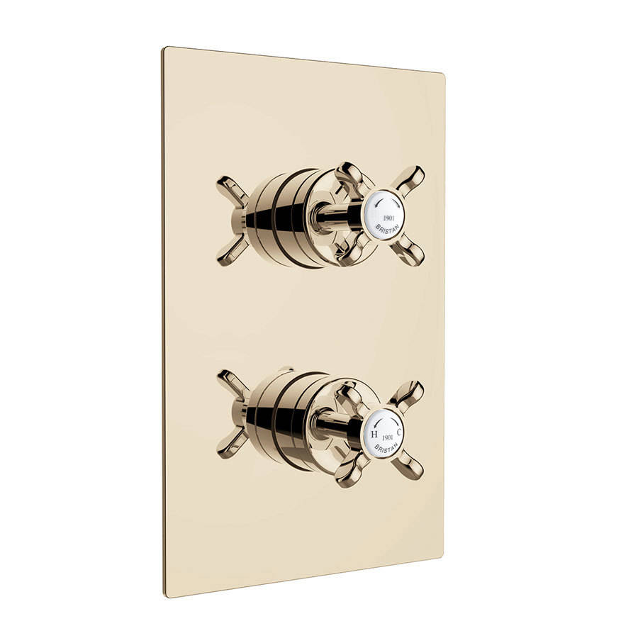 WSB-Bristan-1901-Gold-Thermostatic-Recessed-Dual-Control-Shower-Valve-with-Integral-Two-Outlet-Diverter-1