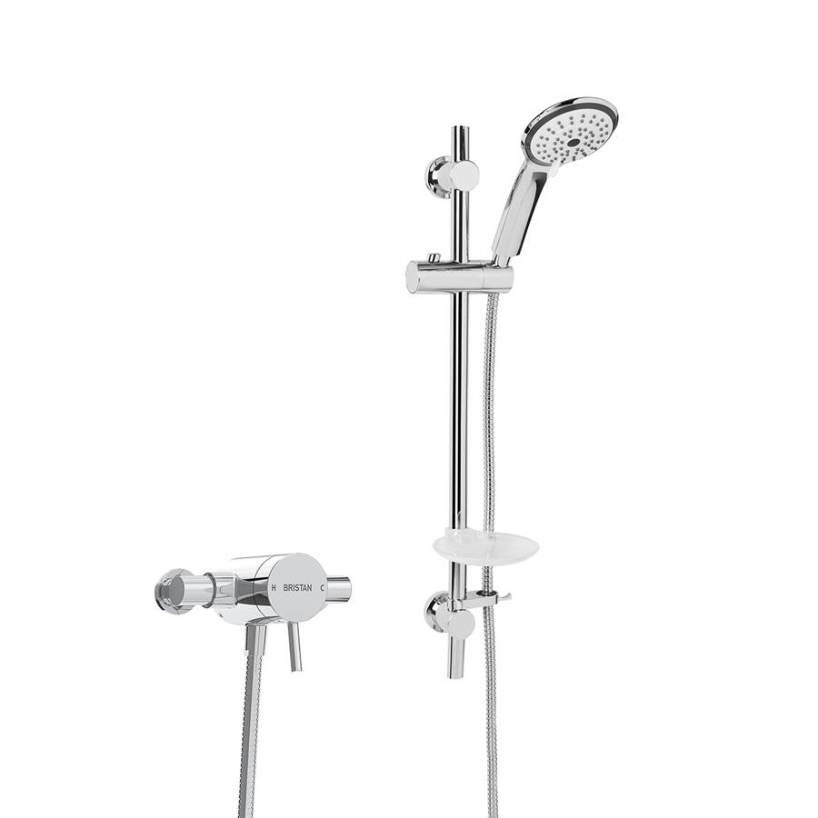 WS-Bristan Prism Thermostatic Exposed Shower Valve with Adjustable Riser Kit-1
