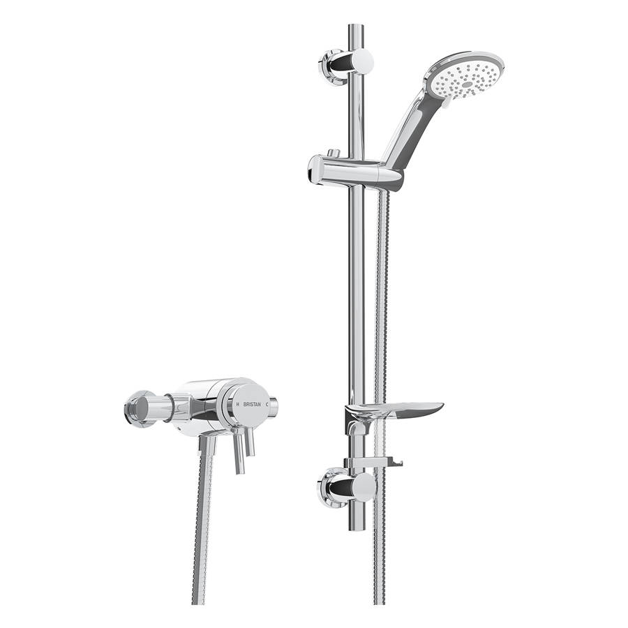 WS-Bristan Prism Thermostatic Exposed Dual Control Shower Valve with Adjustable Riser Kit-1