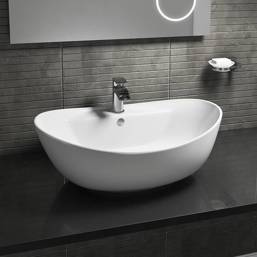 WS-Cassellie 600mm 1 Tap Hole Oval Counter Top Basin-1